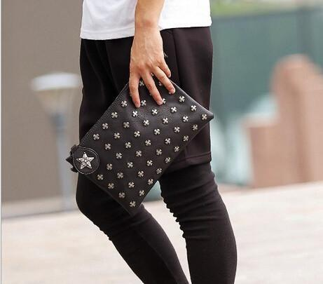Black Clutch Bag with Rivets