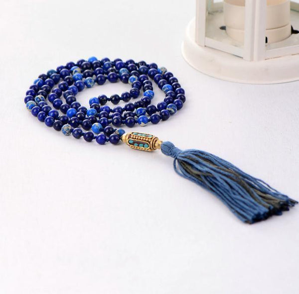 Boho Mandala Lapis Necklace with Tassels