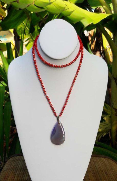 Red Coralr Boho Necklace with Onyx Pendant  - In Stock Same day shipping