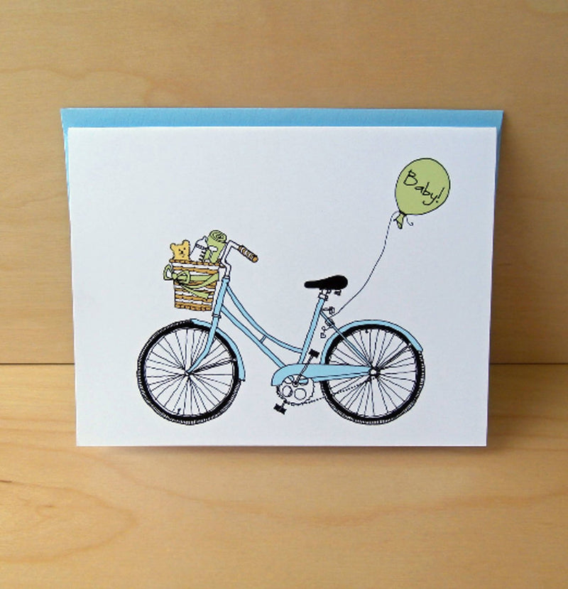 Baby Bike Card - Lt. Blue and Green