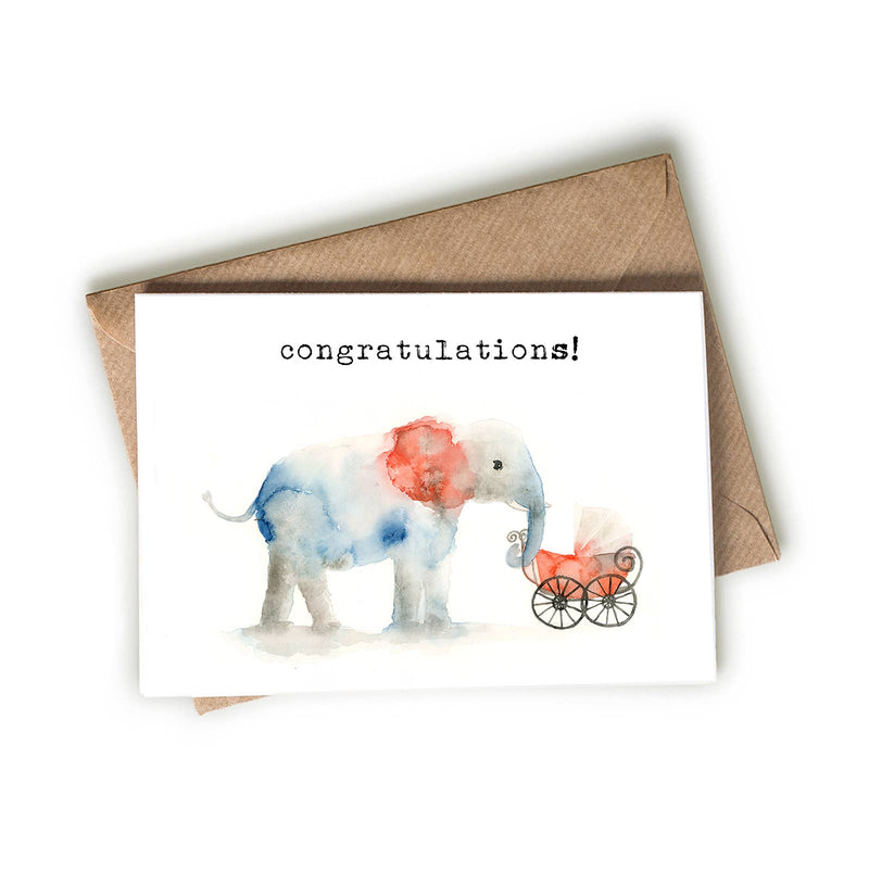 Elephant and New Baby Greeting Card