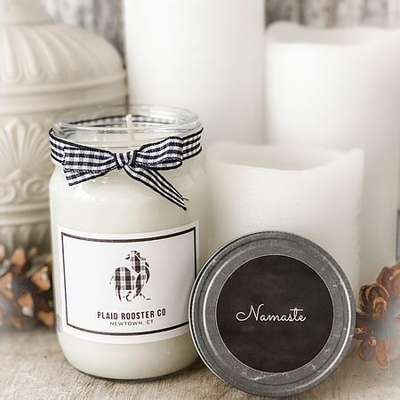 Plaid Rooster Candle - Namaste