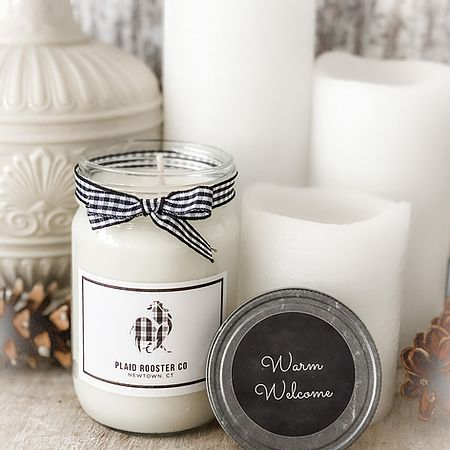 Plaid Rooster Candle - Warm Welcome