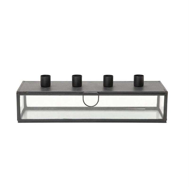 Metal and Glass Display Case With Taper Holder Lid