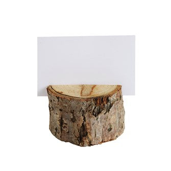 "2-1/4"" Round Wood Slice Place Holder w/ 12 Cards, Boxed Set of 6"