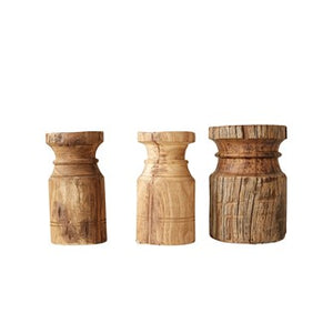 "8""H x 4"" Round Found Wood Carved Pillar Candle Holder"