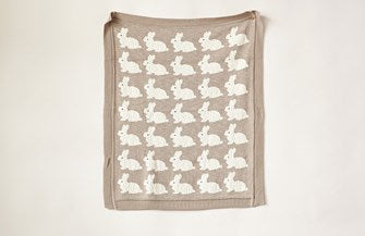 Cotton Knit Blanket w/ Rabbits, Taupe