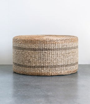 "29-1/2"" Round x 15-3/4""H Natural Woven Water Hyacinth & Seagrass Pouf"