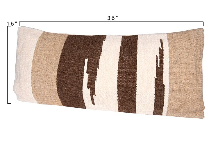 Hand-Woven Wool Kilim Pillow, Brown