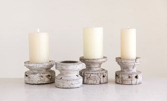 "Found Wood Candle Holder (Holds 4"" Pillar Candle)"