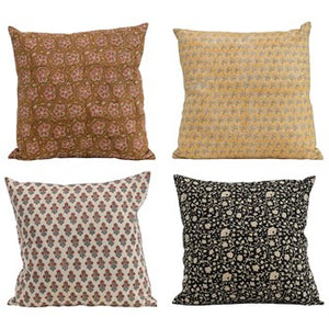 Cotton Printed Floral Pillow, 4 Styles