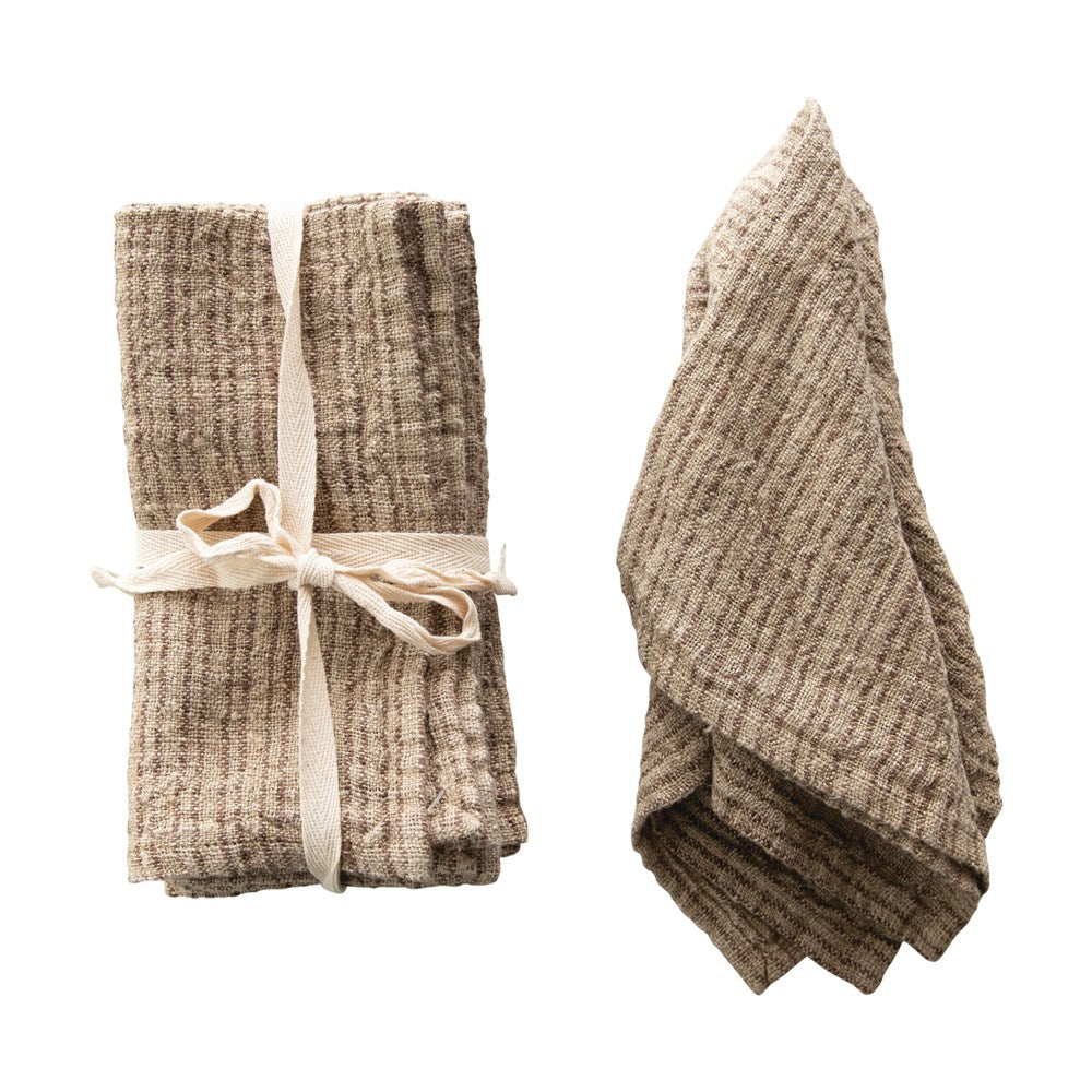 "18"" Square Woven Striped Linen Napkin"