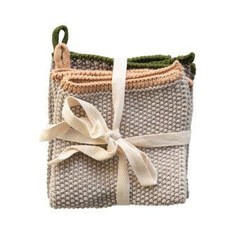 Cotton Knit Dish Cloth with Loop, Set of 2