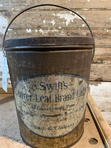 Swift's Silver Leaf Brand Lard Tin with Lid and Handle