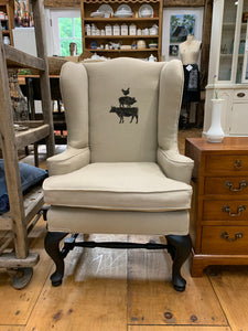 Vintage ReUpholstered Children's Size Wing Back Chair