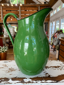 Vintage Emerald Green Enamelware Pitcher