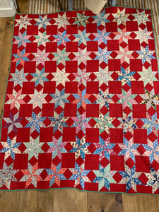 Vintage Hand Stitched Quilt 8 Sided Star on Red