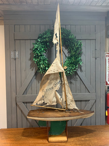 Vintage Wooden Pond Yacht Sail Boat