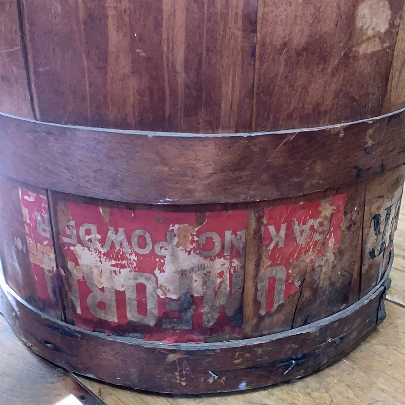 Vintage Rumford Baking Powder Wood Barrel/Bin