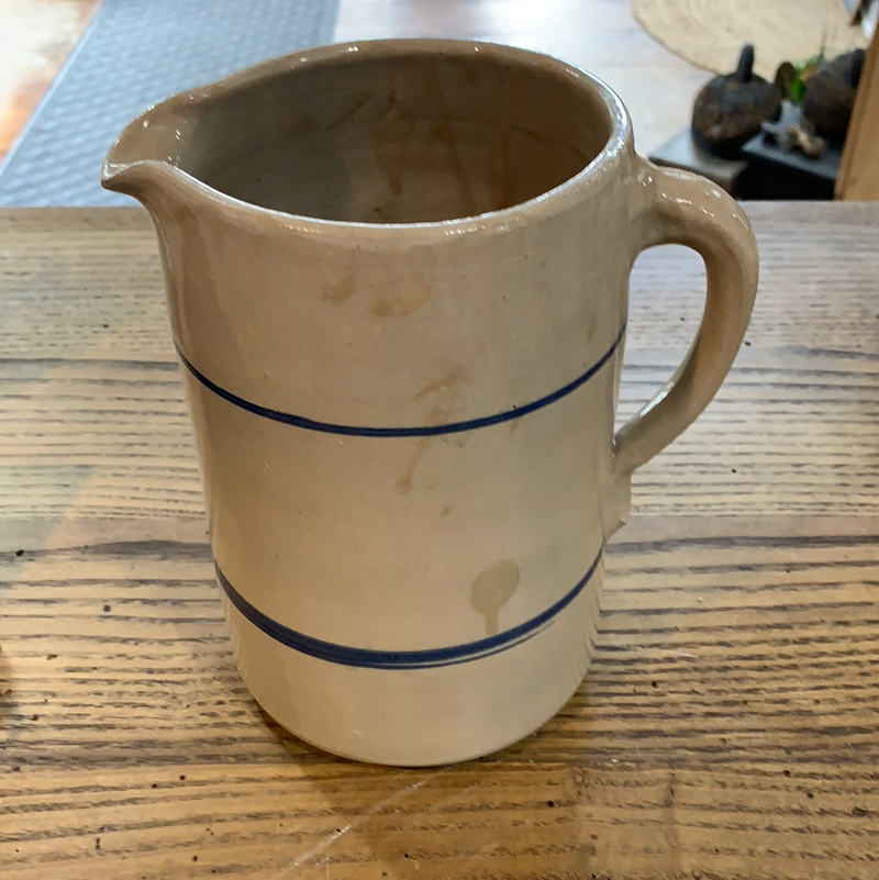 Vintage Stoneware Pitcher with Blue Stripes