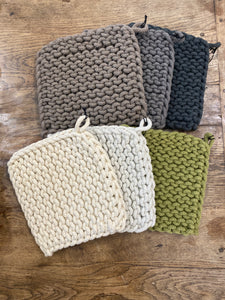 "8"" Square Cotton Crocheted Pot Holder"