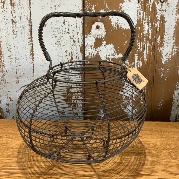 "Vintage 12"" Vegetable/Egg Wire Gathering Basket"