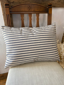 "Striped Pillow Grey - 20"" L x 14"" H"