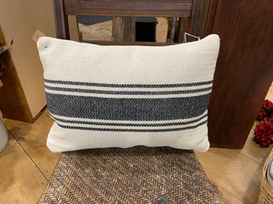 "Canvas Pillow w/ Black Stripes - 20"" L x 14"" H"
