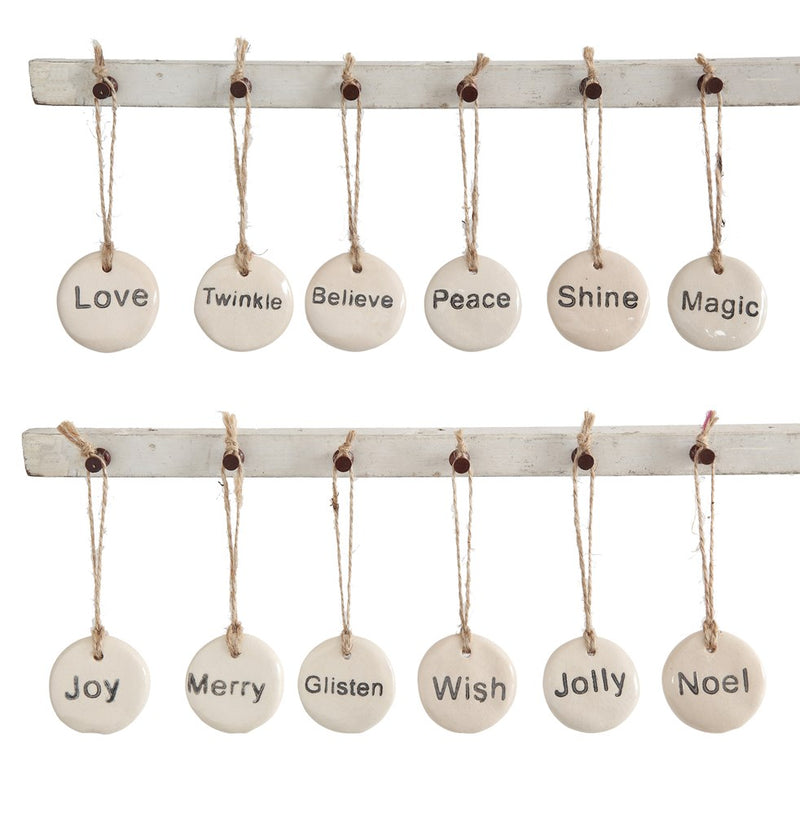 Round Stoneware Tag Ornament w/ Holiday Word, Ivory, 1-3/4""