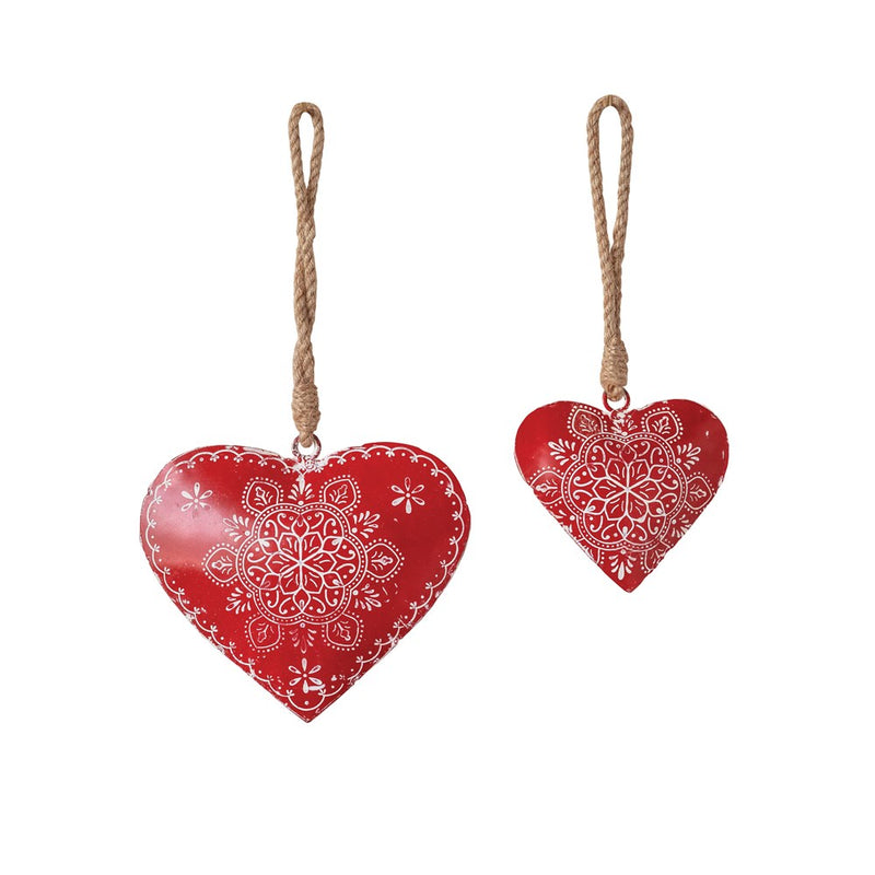 Hand-Painted Metal Heart Ornament w/ Jute Hanger