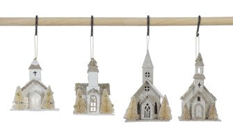 Paper Church Ornament w/ Faux Trees & LED Light, 6""