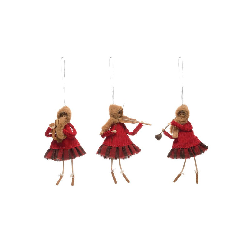 "Fabric Girl w/ Instrument Ornament, Red, 9""H"