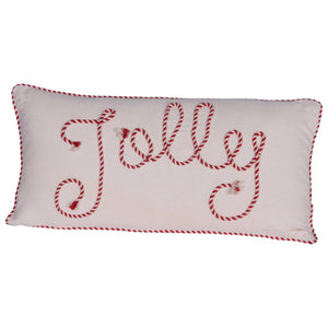 "Cotton Lumbar Pillow w/ Cord Piping & Applique, Red & White ""Jolly"" 24""L x 12""H"