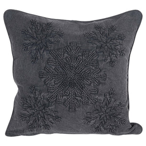 Square Embroidered Pillow w/ Snowflake Applique, Charcoal Color 18""