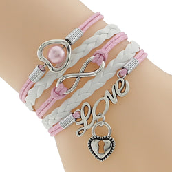 pink cute braided leather bracelet heart peal infinity love