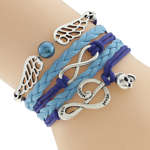 Blue Leather Bracelets