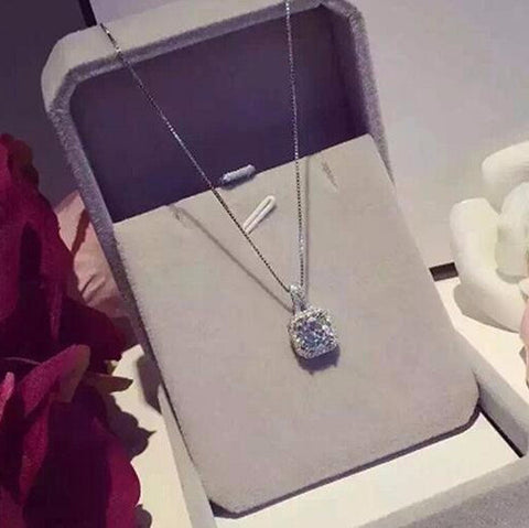 Luxury full drill square zircon. short chain necklace