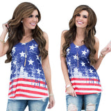 Women Sleeveless American Flag Tank