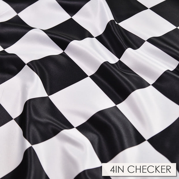"Lamour Checker - Chair Sash 4"" black/white, LGi Linens"