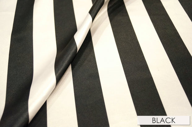 "2"" Satin Stripe - Chair Sash, Black & White, Lgi Linens"