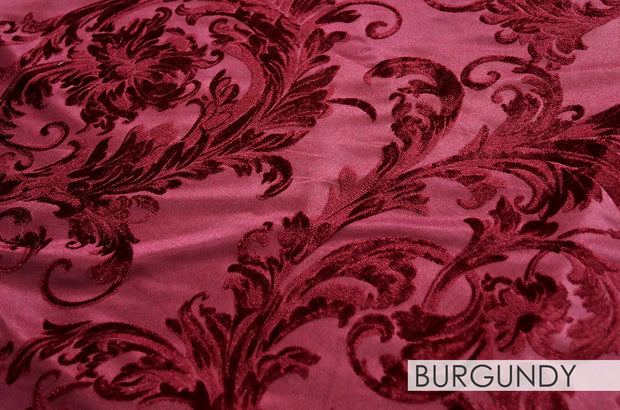 Victorian Jacquard Sheer - Table Linens, Burgundy, LGi Linens