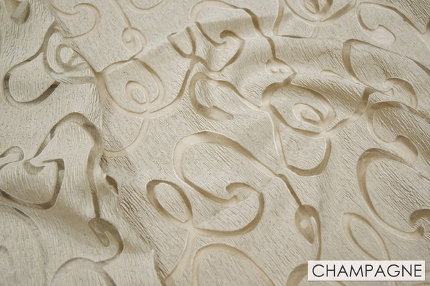 Contempo Scroll Sheer - Table Linens, Champagne, LGi Linens