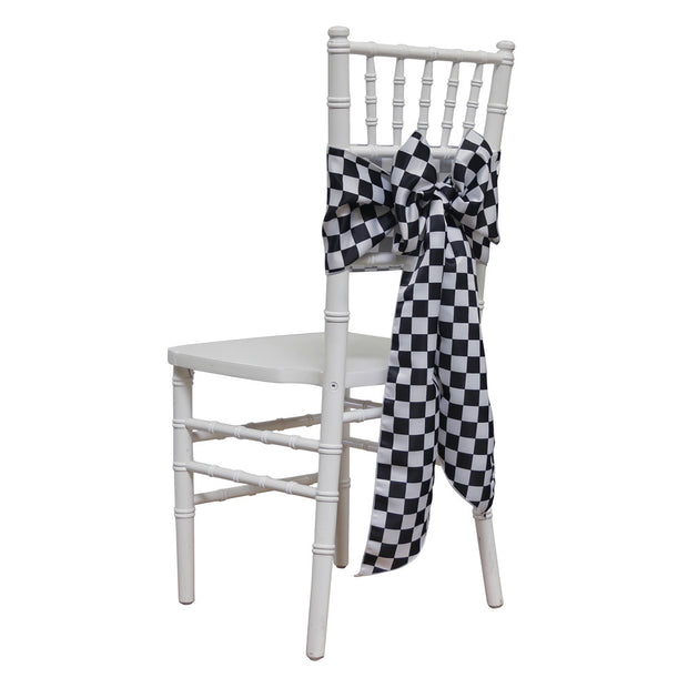 Lamour Checker - Chair Sash, Black/white, LGi Linens