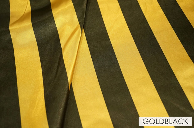 "2"" Satin Stripe - Chair Sash, Gold & Black, Lgi Linens"