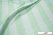"2"" Satin Stripe - Chair Sash, White & Mint, Lgi Linens"