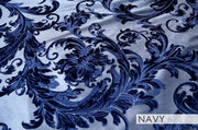 Victorian Jacquard Sheer - Table Linens, Navy, LGi Linens