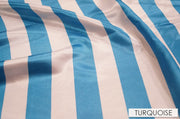 "2"" Satin Stripe - Chair Sash, White & Turquoise, Lgi Linens"