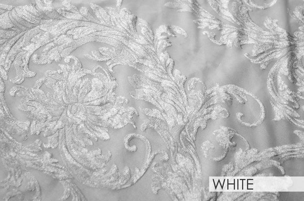 Victorian Jacquard Sheer - Table Linens, White, LGi Linens