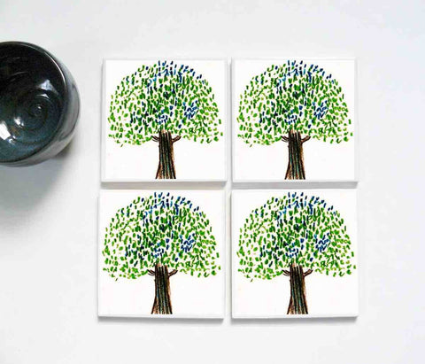 Whimsical Green Tree 4 piece Coaster Set