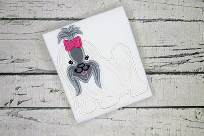 AGD 10220 Applique Shih Tzu